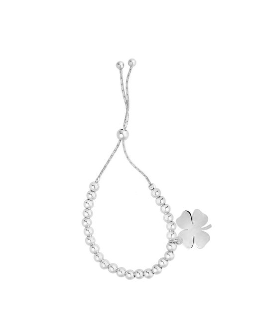 JewelryAffairs - Metallic Sterling Silver Beads And 4 Leaf Clover Dangle Charm Adjustable Friendship Bracelet , 9.25 - Lyst
