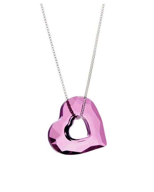 Barzel   Metallic Swarovski Lilac Shadow Miss U Heart Pendant In Sterling Silver   Lyst
