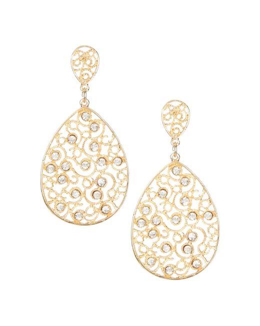 Sparkling Sage | Metallic 14k Plated Crystal Filigree Earrings | Lyst