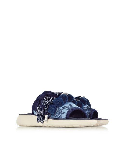 ... Marc Jacobs - Blue Emerson Pompom Denim Sport Sandal - Lyst ...