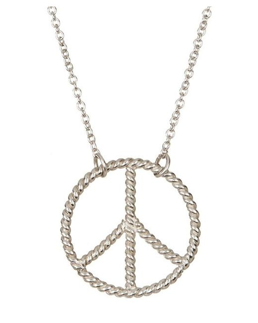 Adornia | Metallic Peace Necklace Silver | Lyst