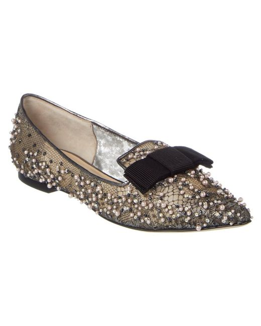 Jimmy Choo | Gray Gala Lace Crystal & Pearl Embellished Pointy Toe Flat | Lyst