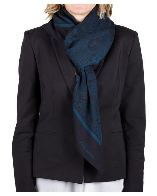 Roberto Cavalli   Blue Women's Reptile Print Silk Scarf   Lyst