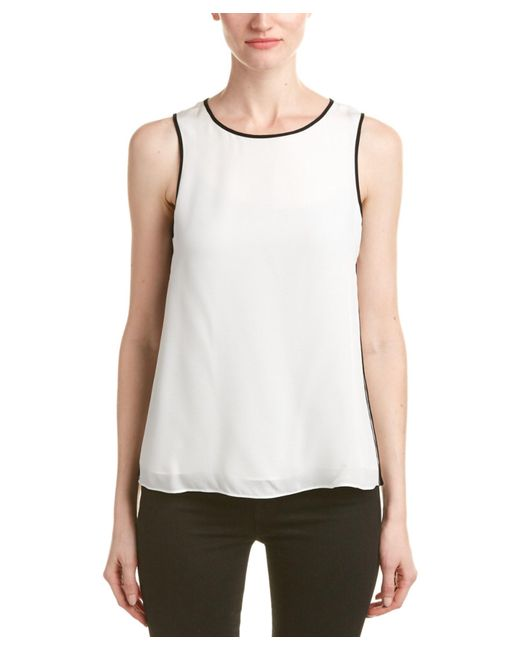 Parker | White Pico Combo Silk Top | Lyst