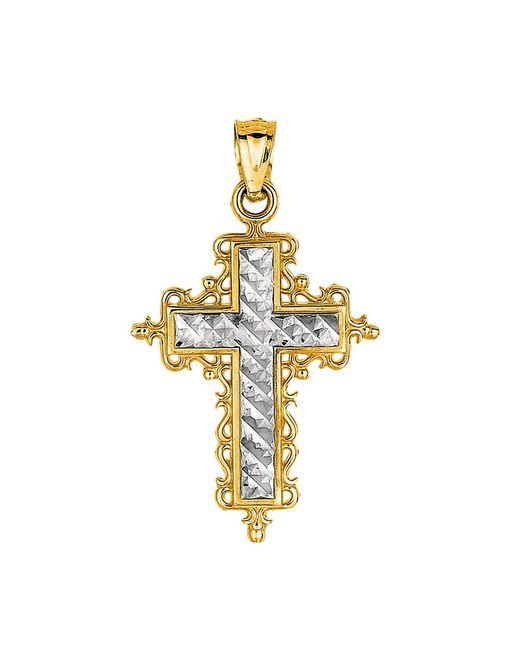 JewelryAffairs | White 14k 2 Tone Gold Diamond Cut Round Filigree Design Cross Pendant | Lyst