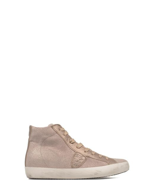 Philippe Model - Women's Pink Leather Hi Top Sneakers - Lyst