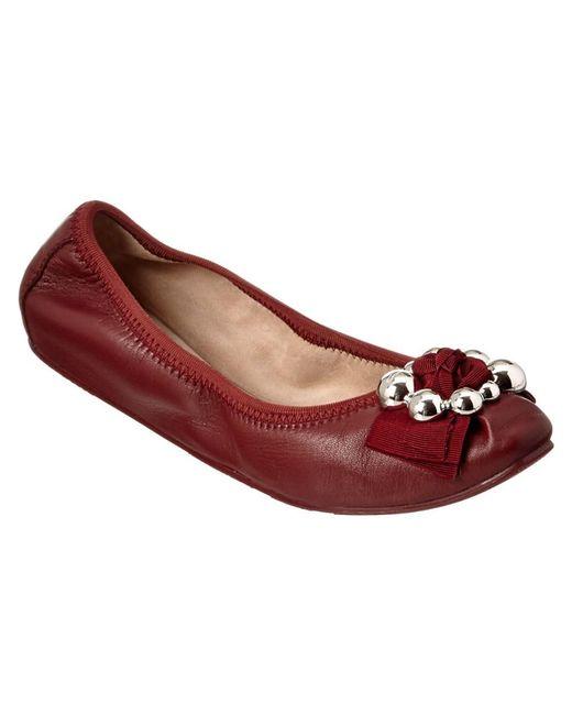 Ferragamo | Red Fiffy Leather Ballerina Flat | Lyst