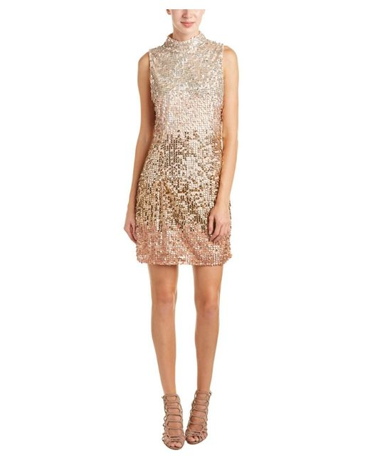 French connection cosmic beam cocktail dress in natural lyst for Cosmic pattern clothing