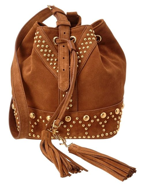 Saint Laurent | Brown Small Y Studs Suede Bucket Bag | Lyst