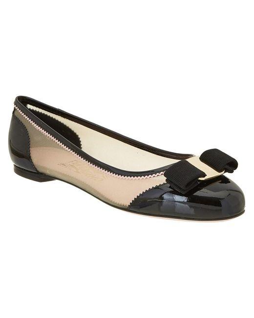 Ferragamo | Black Varina Patent & Mesh Ballerina Flat | Lyst