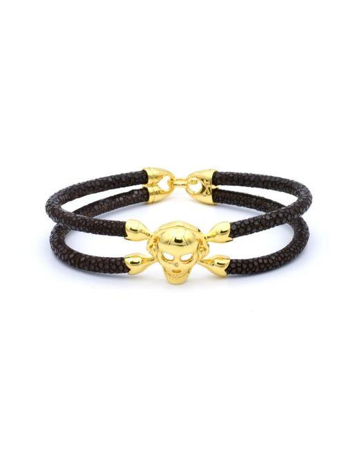 Double Bone | Single Skull Bracelet Yellow Gold/ Brown Stingray | Lyst