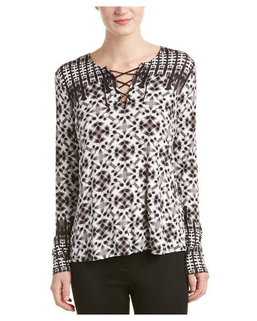 NYDJ | Gray Batik Print Long Sleeve Top | Lyst