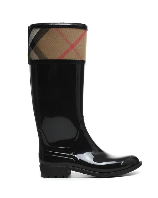 Burberry | Women's 39829441003 Black Rubber Boots | Lyst