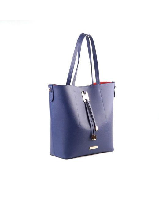 Suzy levian Saffiano Faux Leather Tall Tote Bag in Blue | Lyst