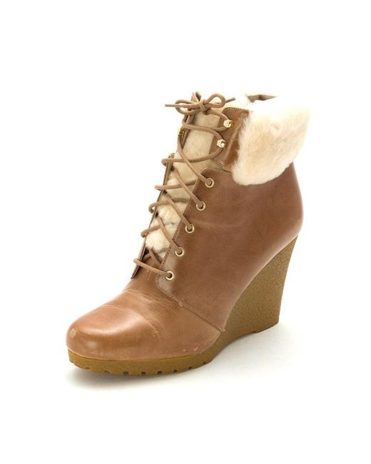 MICHAEL Michael Kors   Brown Womens Putnam Wedge Bootie Leather Closed Toe Ankle Cold...   Lyst