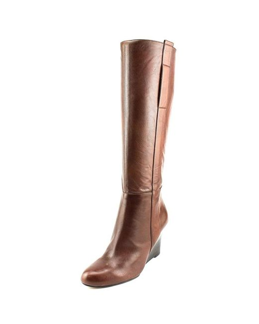 Nine West | Brown Oran Round Toe Leather Knee High Boot | Lyst