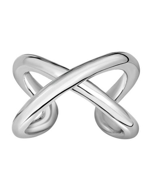 JewelryAffairs - Metallic Sterling Silver Cross Over X Design Ring, Size 7 - Lyst