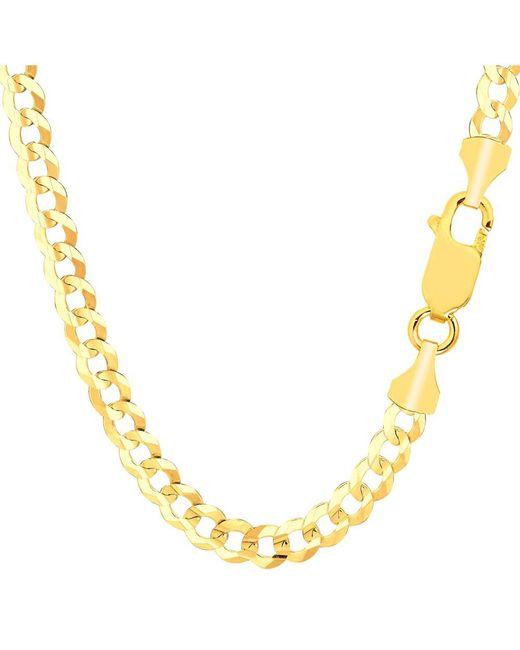 JewelryAffairs - 14k Yellow Solid Gold Comfort Curb Chain Bracelet, 5.7mm, 8.5 - Lyst