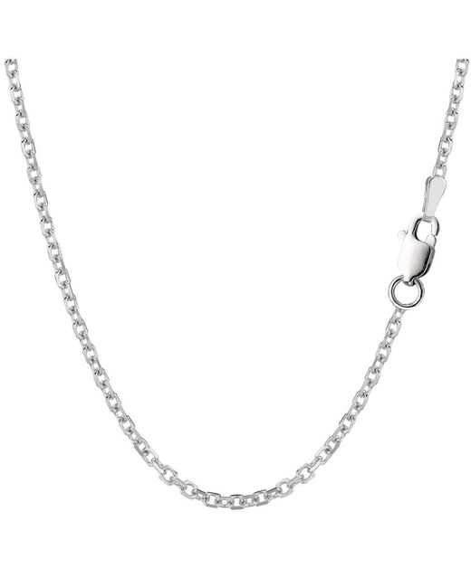 JewelryAffairs - White Sterling Silver Rhodium Plated Cable Chain Necklace, 2.3mm, 20 - Lyst