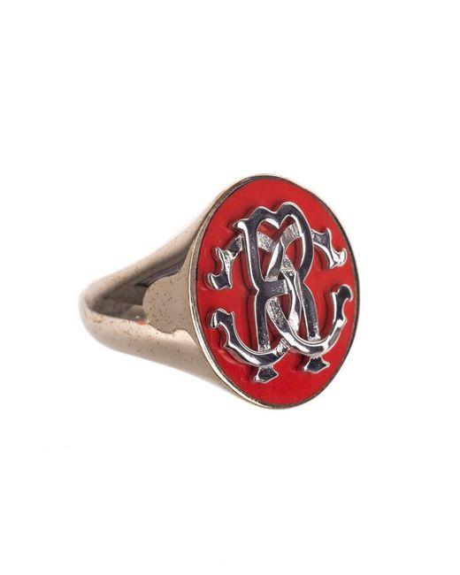 Roberto Cavalli - Red Enameled Metal Double Logo Flat Top Ring - Lyst