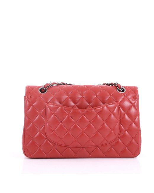 ... Chanel - Red Pre Owned Classic Double Flap Bag Quilted Lambskin Medium  - Lyst ... 6b68721963e9b