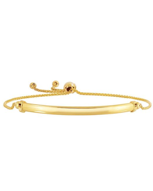 JewelryAffairs - 14k Yellow Gold Diamond Cut Round Wheat Bracelet With Shiny Curved Bar Element, 9.25 - Lyst