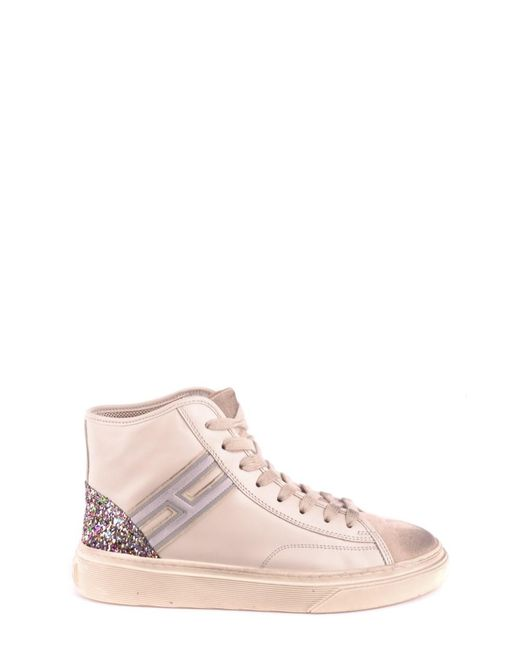 Hogan - Brown Women's Beige Leather Hi Top Sneakers - Lyst