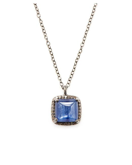 Adornia - Blue Kyanite And Champagne Diamond Mini Zora Necklace - Lyst