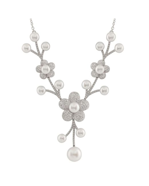 Splendid - Metallic Micropave Cz Freshwater Pearl Necklace Set In Sterling Silver - Lyst
