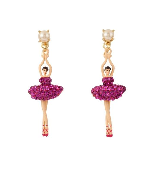 Les Nereides - Luxury Pas De Deux Hollywood Pink Ballerina Earrings - Lyst