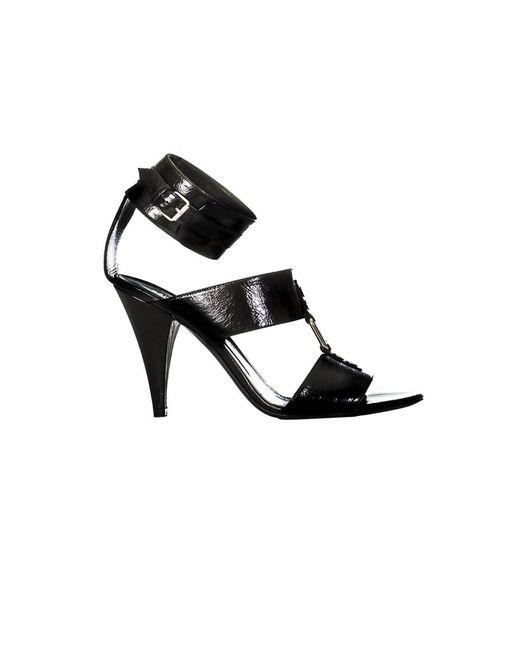 Saint Laurent | Women's 404435cpx001000 Black Leather Sandals | Lyst