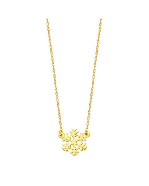 JewelryAffairs   14k Yellow Gold Mini Snowflake Pendant Necklace, 16 To 18 Inches Adjustable   Lyst