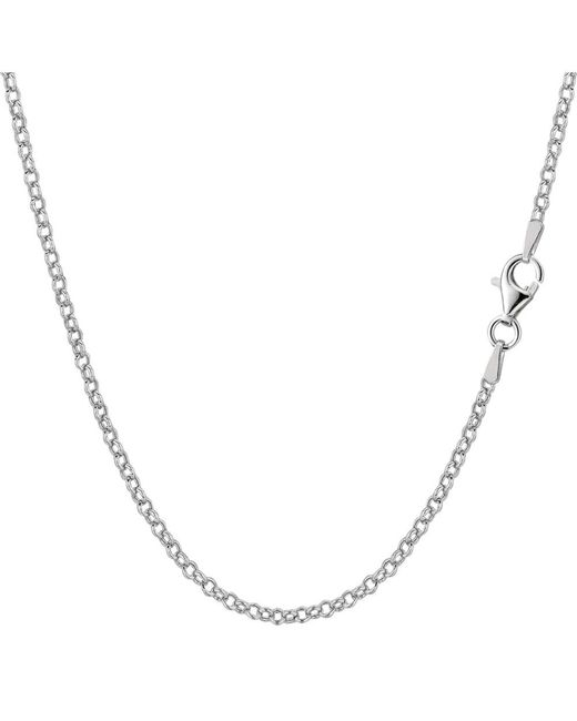 JewelryAffairs - White Sterling Silver Rhodium Plated Rolo Chain Necklace, 1,8mm, 16 Inch - Lyst