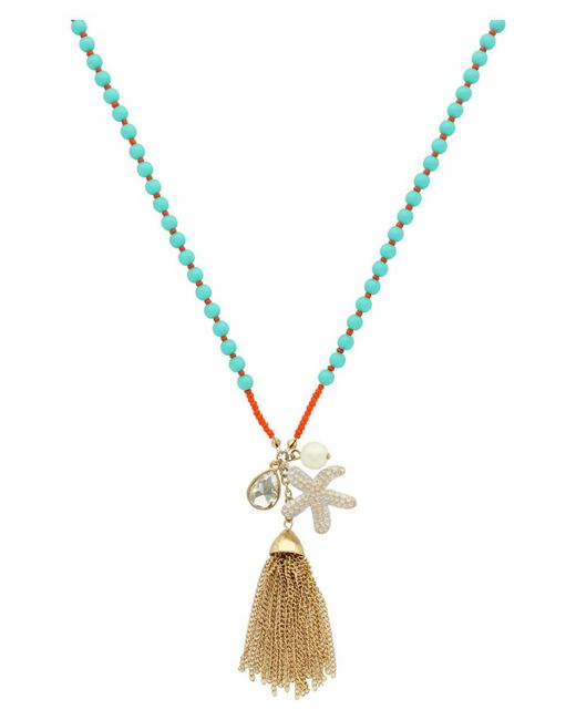 Sparkling Sage   Metallic 14k Plated Crystal & Resin Tassel Charm Necklace   Lyst