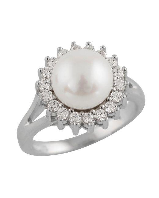 Splendid - Metallic Halo Cz Pearl Ring - Lyst