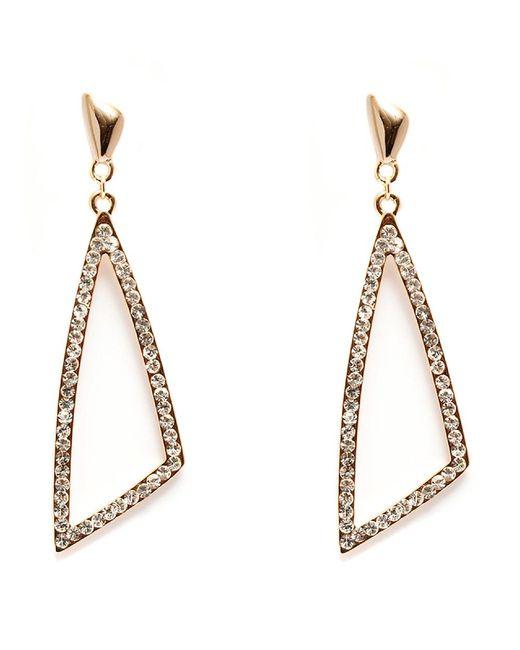 Peermont - Metallic Gold And White Swarovski Elements Open Triangle Earrings - Lyst