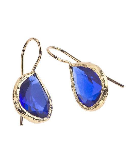 Jewelista - Blue 18k Gold Plate & Quartz Earrings - Lyst