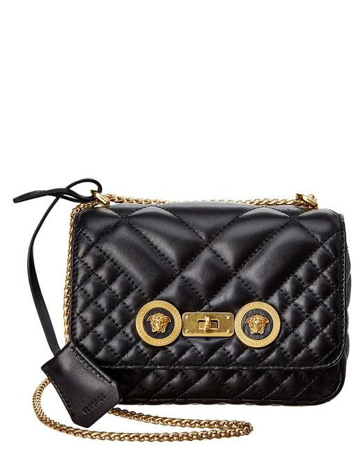 871f0077d0 Versace - Black Small Quilted Icon Leather Shoulder Bag - Lyst ...