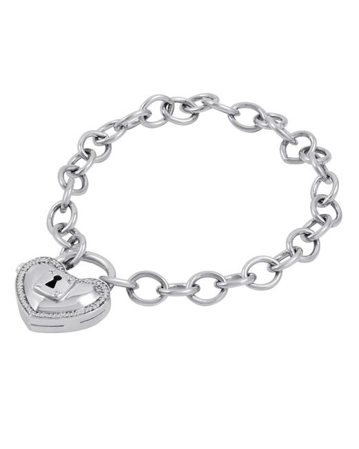 Amanda Rose Collection - Metallic Locking Heart 1/10 Ct. T.w. Diamond Bracelet In Sterling Silver - Lyst