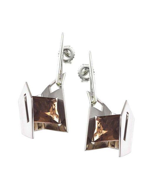 Jewelista | White Smoky Quartz & Sterling Silver Earrings | Lyst