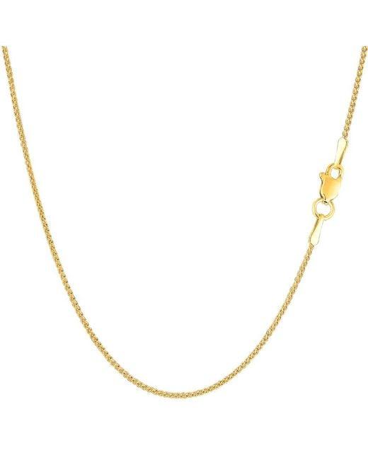 JewelryAffairs - 14k Yellow Gold Round Wheat Chain Necklace, 1.15mm, 24 Inch - Lyst