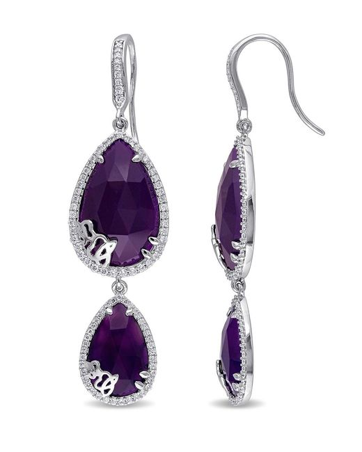 Julianna B - Metallic 4/5 Ct Diamond Tw And Purple Chalcedony Charm Earrings - Lyst