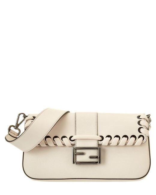 Fendi | Natural Dolce Hand-whipstitched Leather Baguette | Lyst