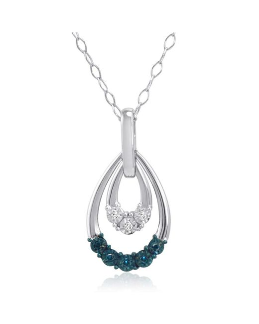 Amanda Rose Collection   Metallic Blue And White Diamond Dangle Pendant-necklace In Sterling Silver   Lyst