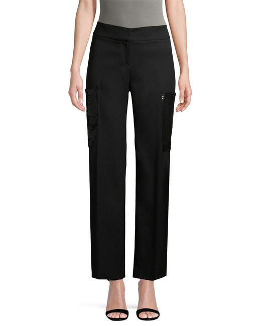 Carolina Herrera - Black Sequined Pocket Woven Pant - Lyst