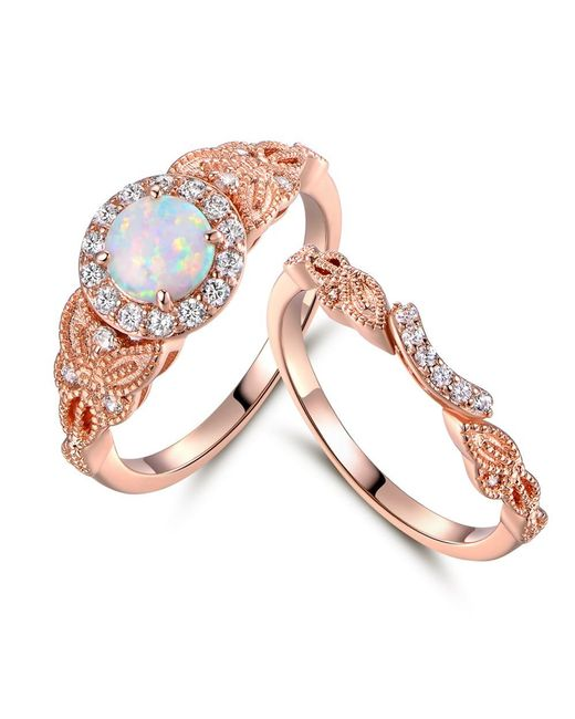 Peermont - Multicolor 18k Rose Gold Plated White Fire Opal & Cubic Zirconia Engagement Rin. G Set - Lyst