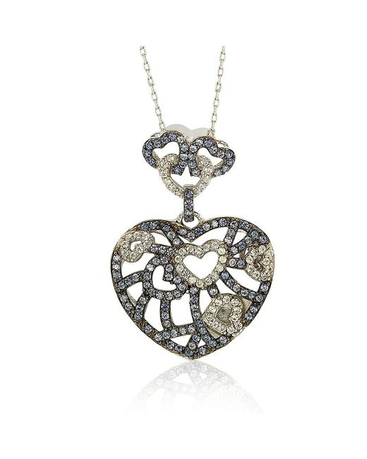 Suzy Levian - Metallic Sterling Silver Blue & White Sapphire & Brown Diamond Accent Clustered Heart Pendant - Lyst