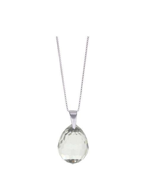 Barzel - Metallic Swarovski Crystal Clear Discoball Pendant In Sterling Silver - Lyst