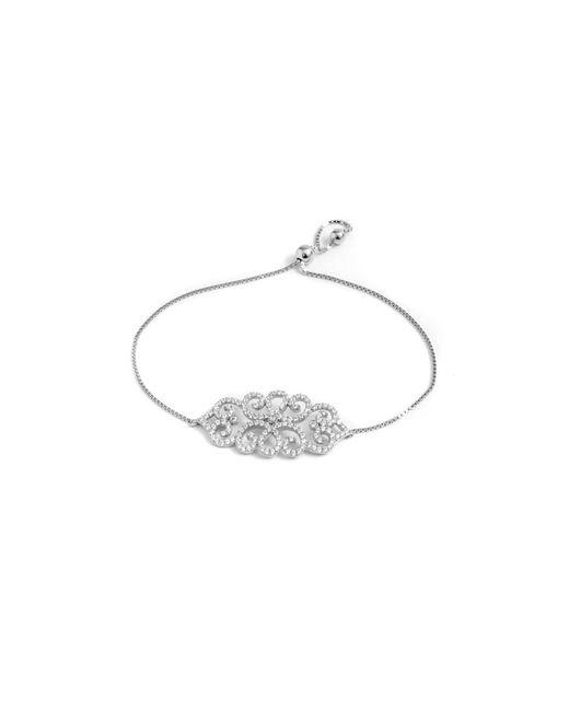 Barzel | Metallic Sterling Silver Cz Leaf Friendship Bolo Adjustable Bracelet | Lyst