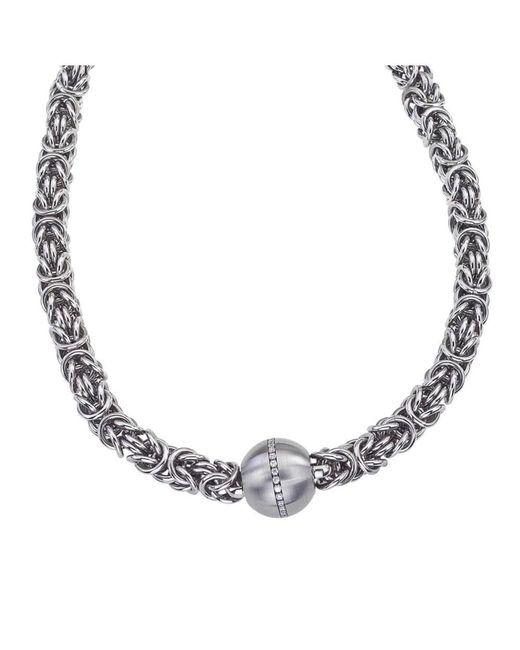 Jewelista - White Stainless Steel & Cubic Zirconia Byzantine Pendant Necklace - Lyst